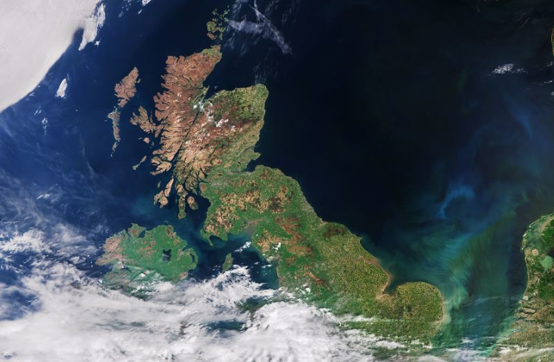 A satellite image of the UK from the European Space Agency