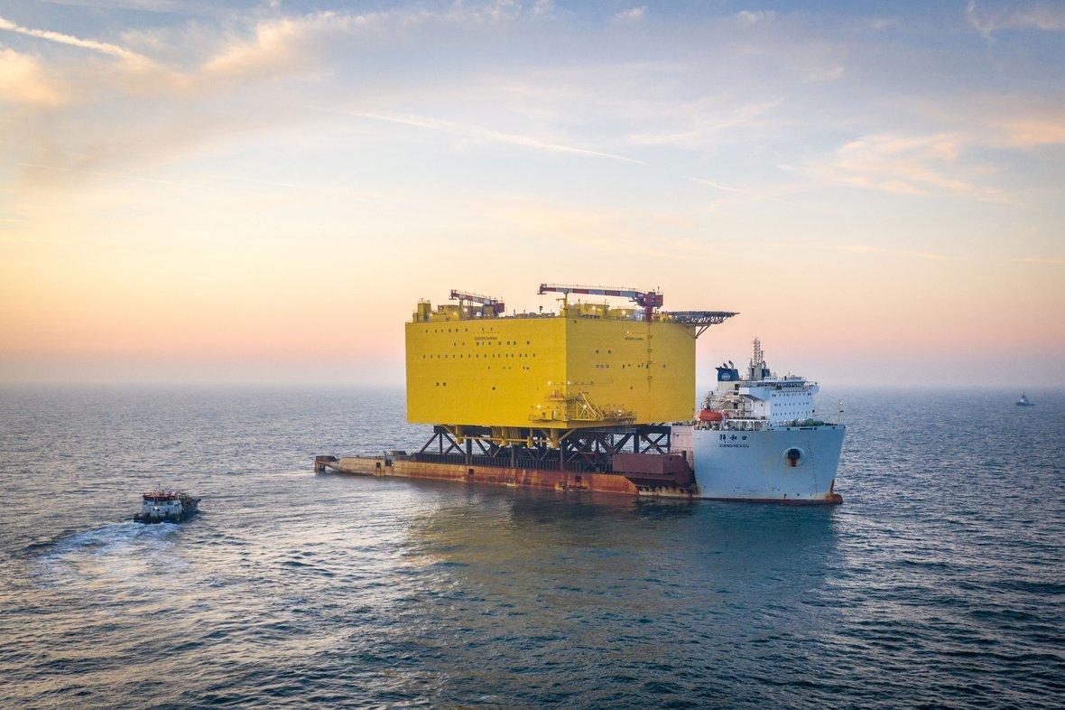 BorWin Gamma has arrived at its North Sea destination, 80miles off the German coast