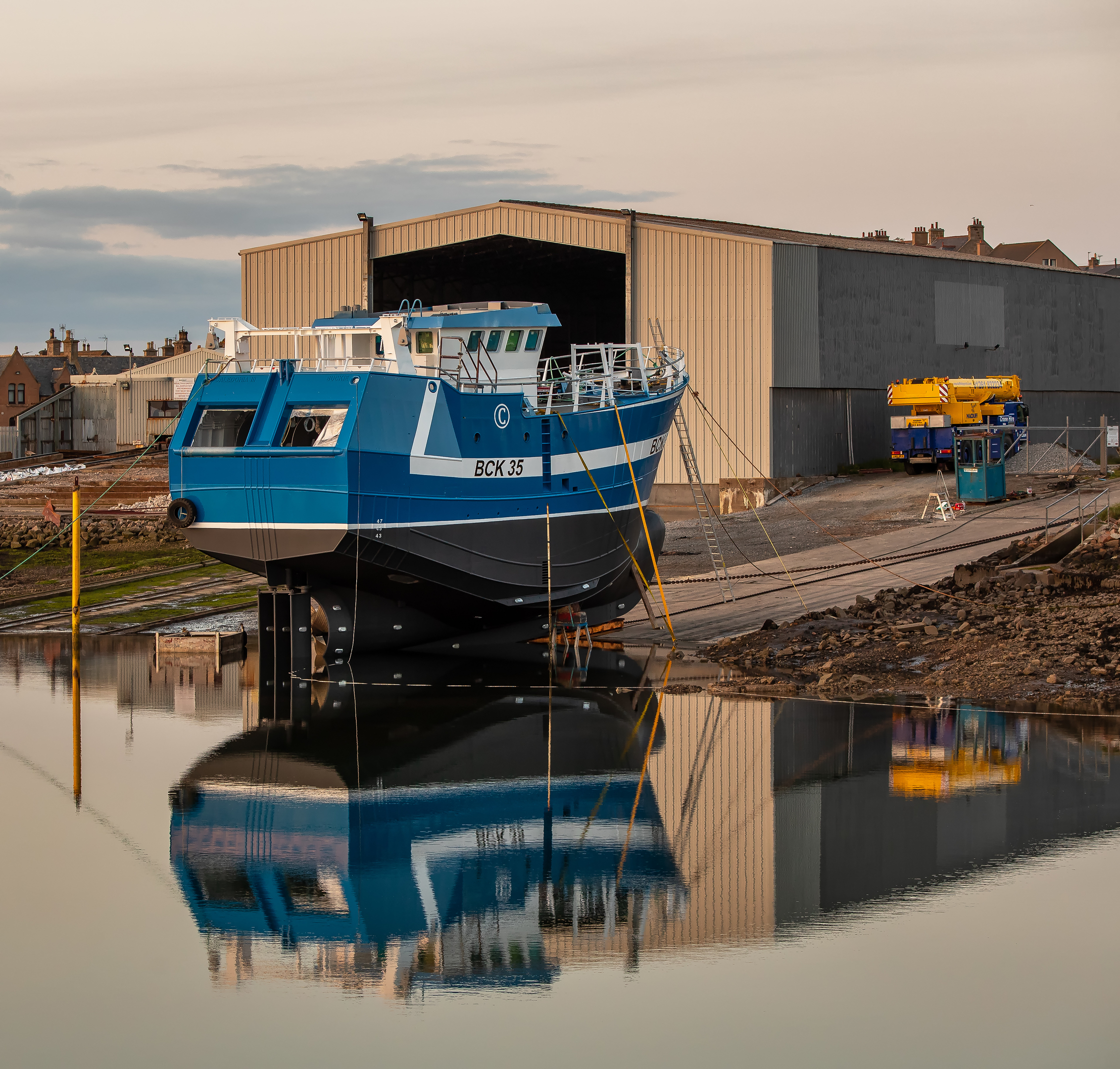 The Macduff Shipyards launch area at Buckie Harbour