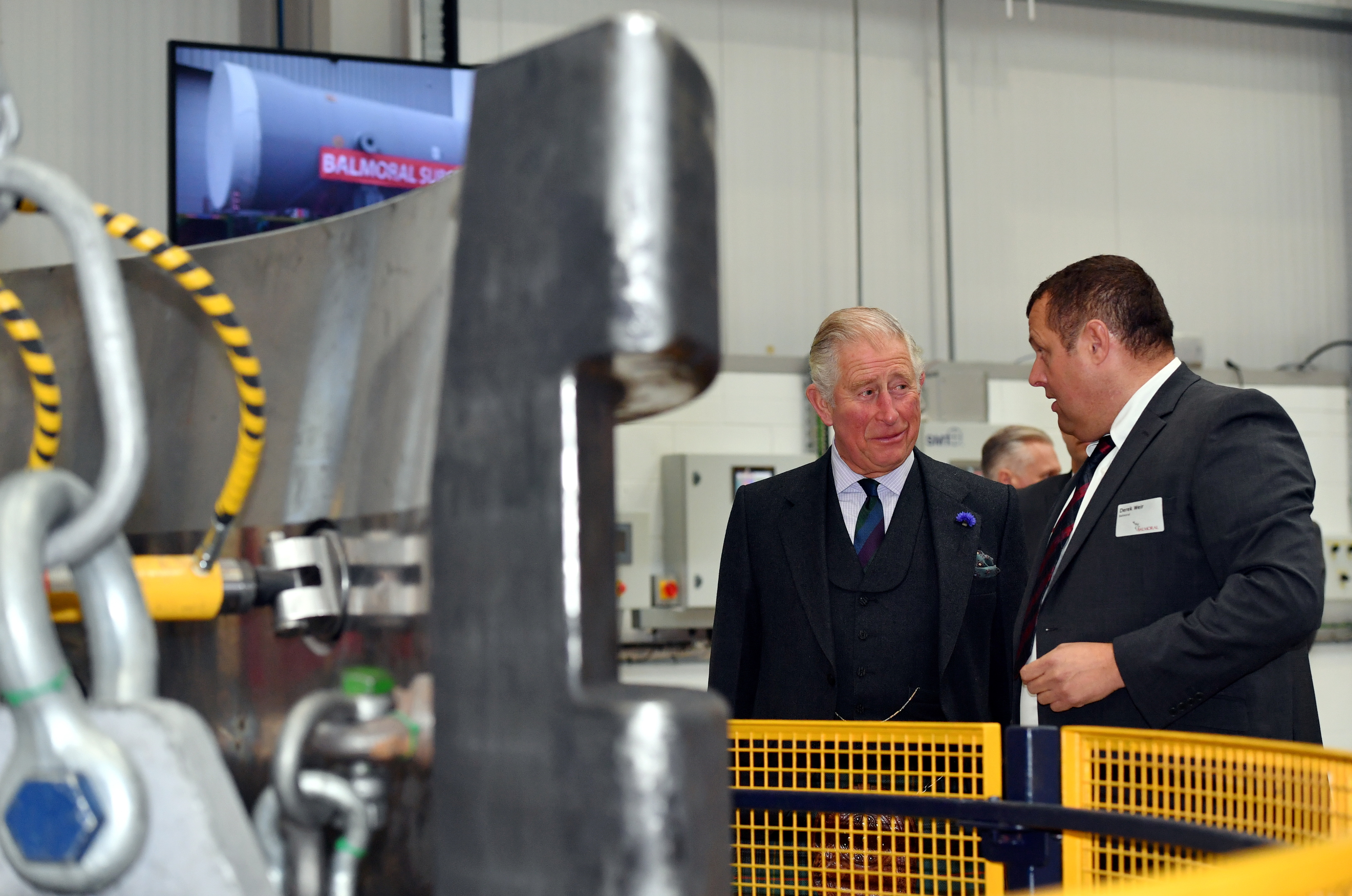 HRH Prince Charles, The Duke of Rothesay, visited Balmoral Offshore Engineering, Aberdeen to officially open the new Balmoral Subsea Test Centre.  Pictured - Prince Charles is shown around the new test centre by Derek Weir. Picture by Kami Thomson.