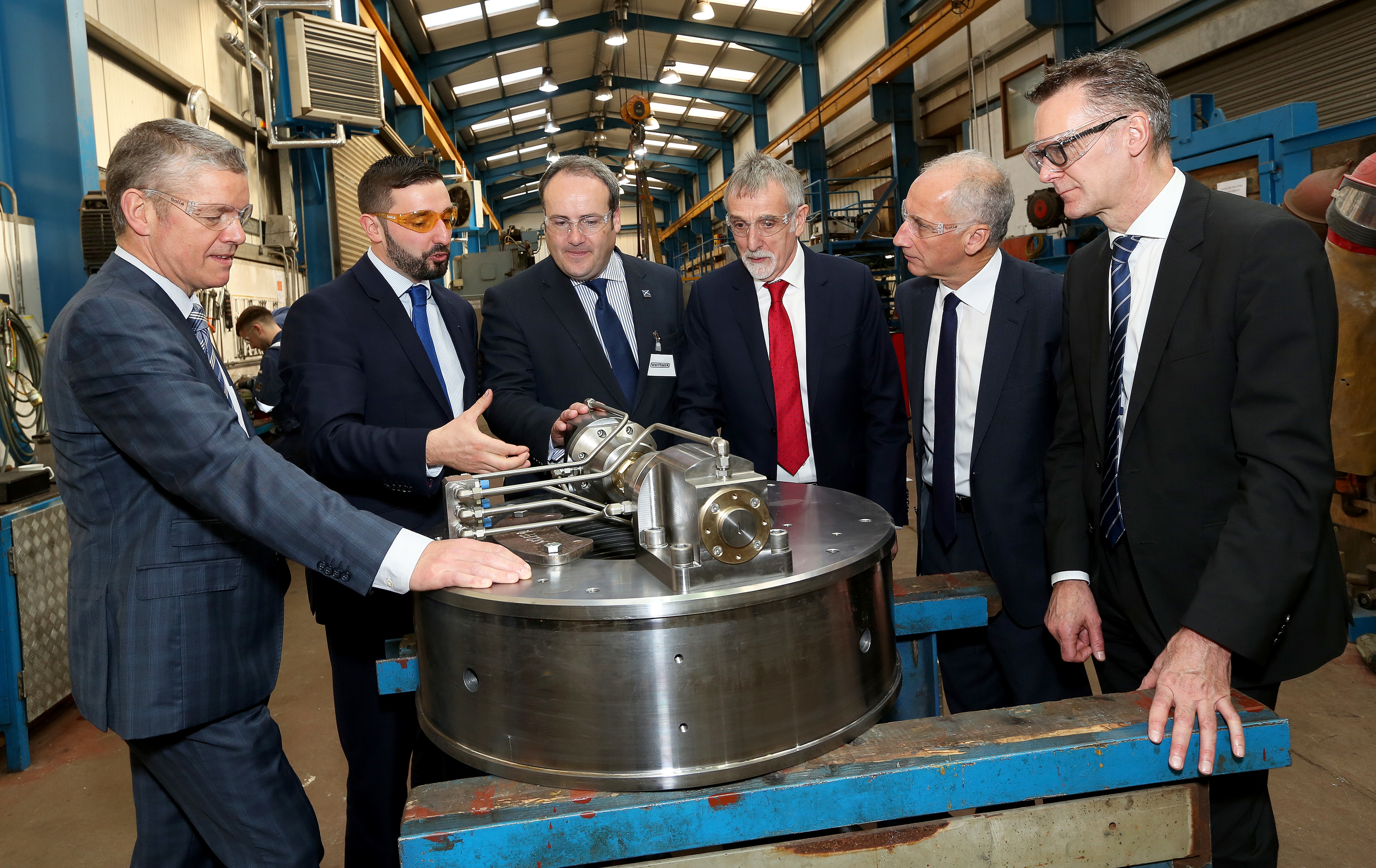 Energy minister Paul Wheelhouse, third from left, made the announcement during a visit to Whittaker Engineering near Stonehaven