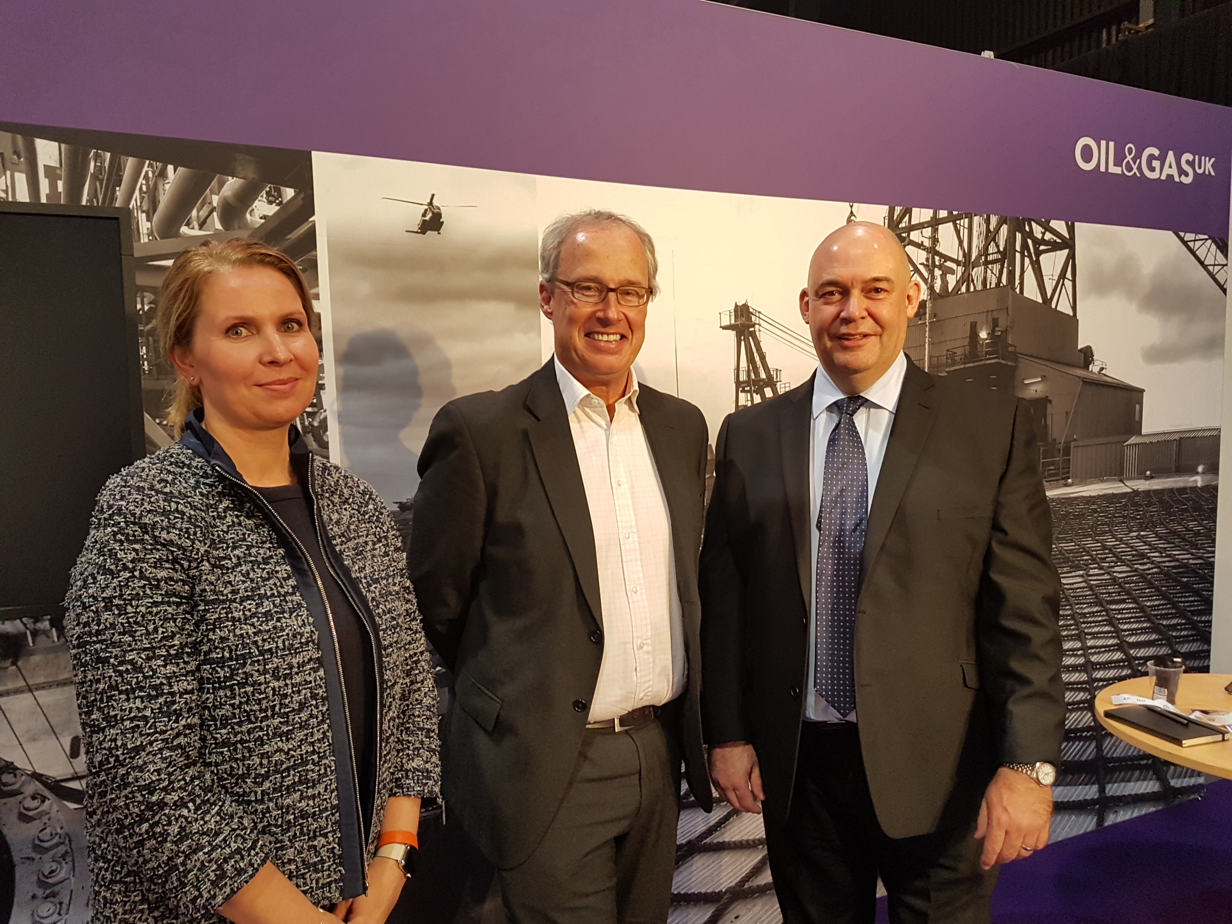Maja Kildedal of Equinor, Robin Allan from Premier Oil (centre) and John McColl from Oil and Gas.