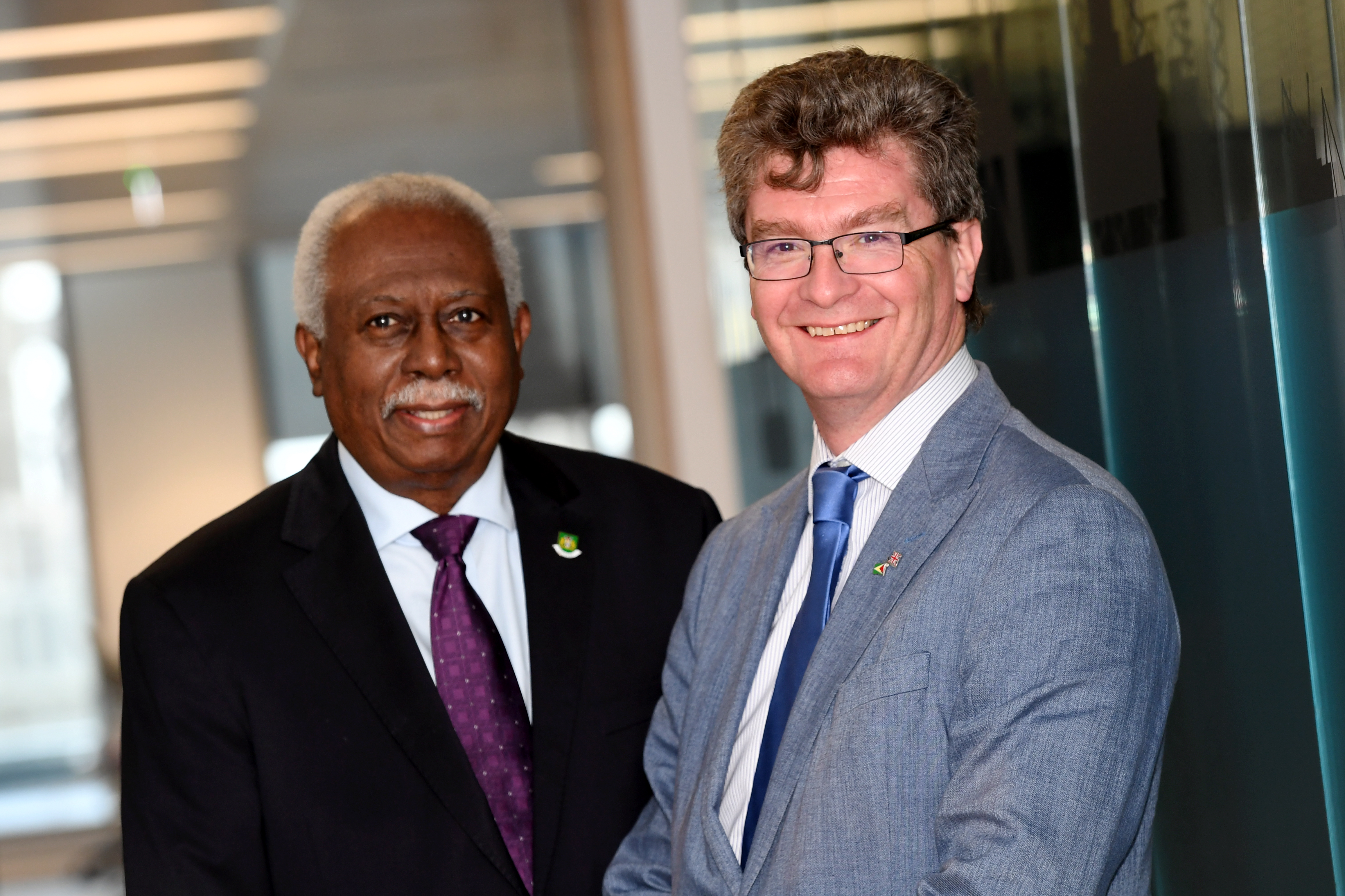 Guyanese ambassador to the UK, Frederick Hamley Case and the British high commissioner to Guyana, Greg Quinn