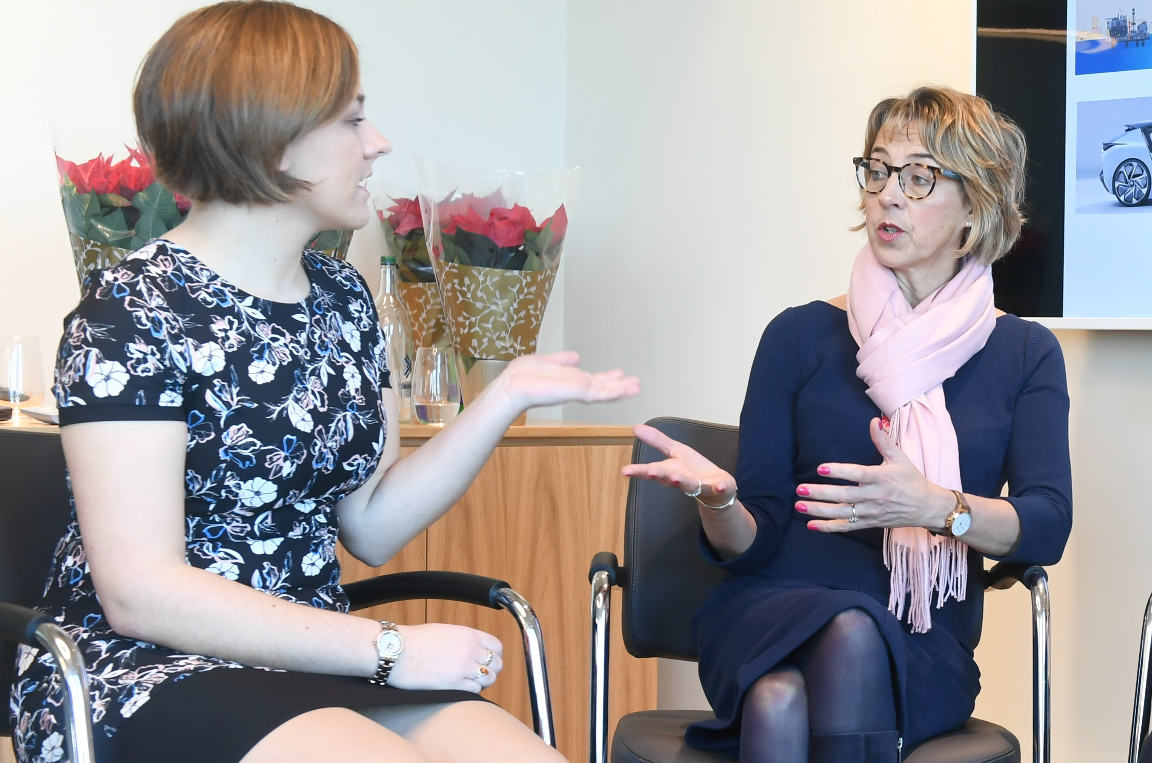 Left, Carla Carla Taylor – Software Engineer and former apprentice at Royal Bank of Scotland and Prof Elizabeth Gammie (Right) – Head of Business School at Robert Gordon University.