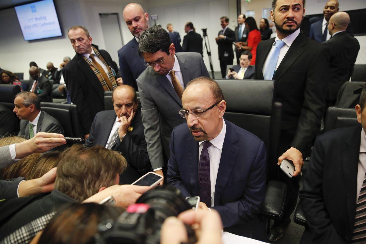Khalid Al-Falih speaks during the OPEC in Vienna, on Dec. 6 Photographer: Stefan Wermuth/Bloomberg