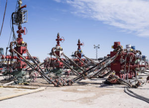 Machinery used to fracture shale formations stands at a Royal Dutch Shell Plc hydraulic fracking site near Mentone, Texas, U.S., on Thursday, March 2, 2017.  Photographer: Matthew Busch/Bloomberg