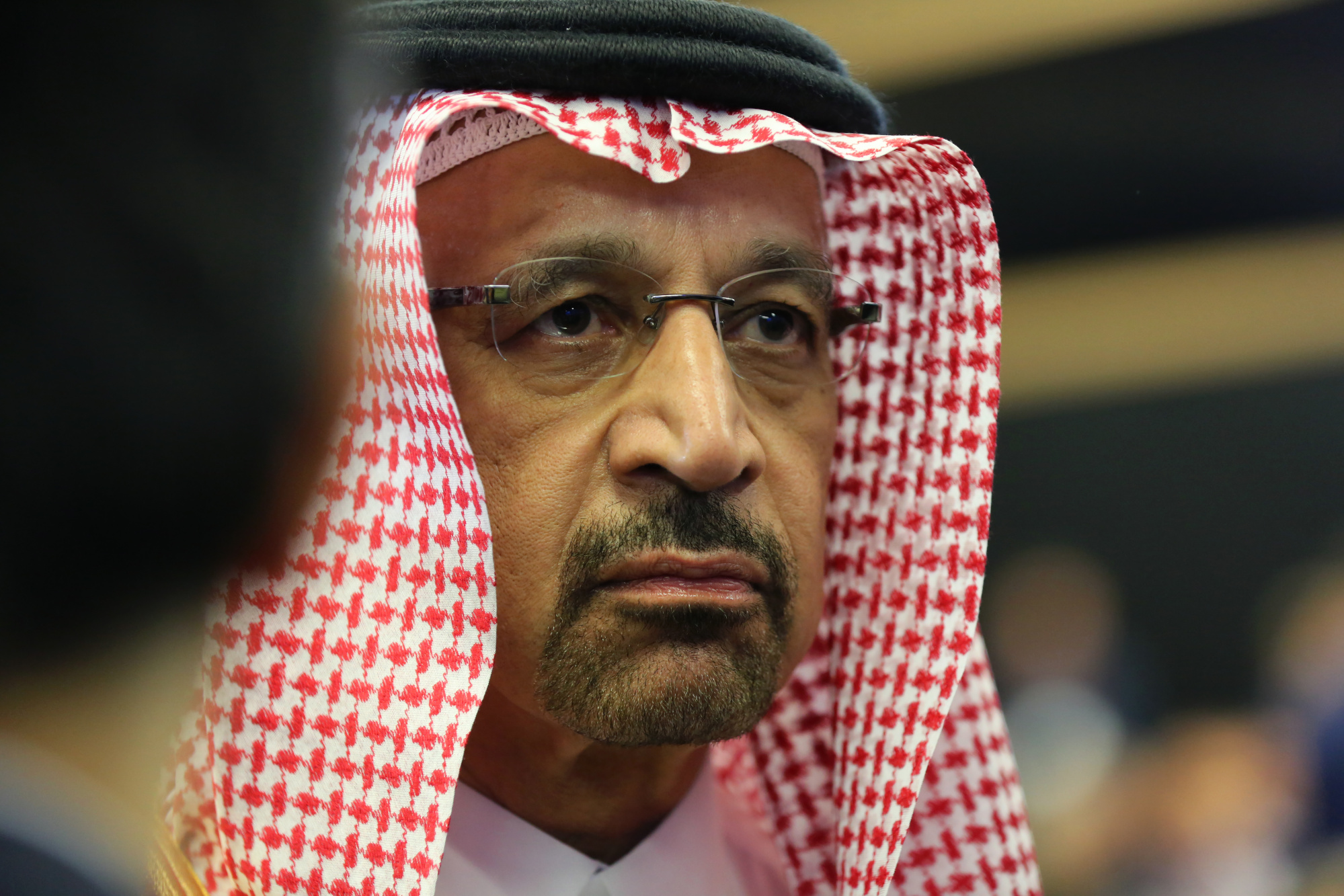 Khalid al-Falih, Saudi Arabia's energy minister, looks on during a panel debate at the St. Petersburg International Economic Forum (SPIEF) in St. Petersburg, Russia, on Friday, May 25, 2018. The economic forum this year will be attended by President Vladimir Putin and French President Emmanuel Macron, and panels include everything from how to do business in Russia to biotechnology and blockchain. Photographer: Chris Ratcliffe/Bloomberg