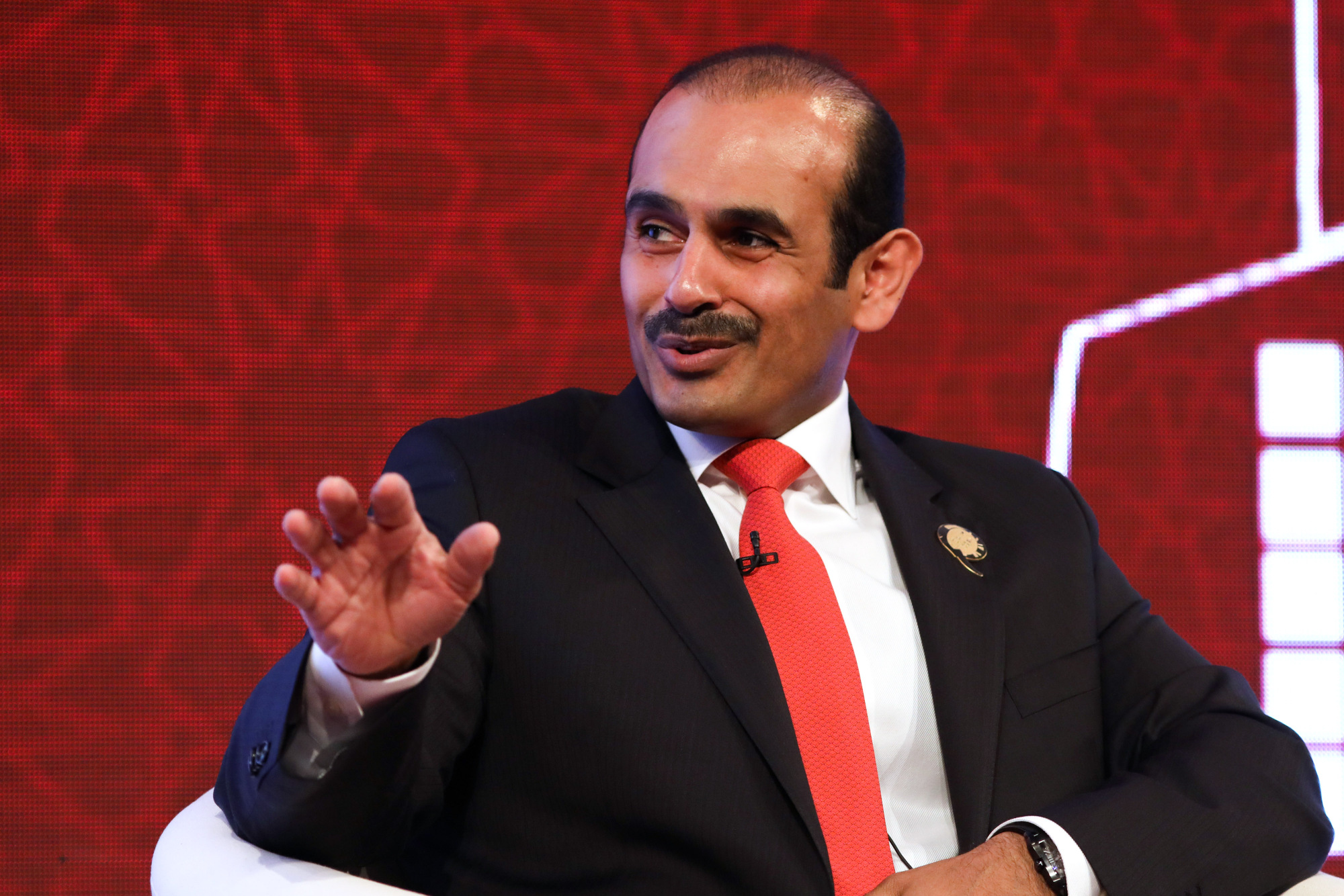Saad Sherida Al Kaabi, chief executive officer of Qatar Petroleum, speaks during the Qatar-U.K. Business and Investment Forum in London, U.K., on Monday, March 27, 2017. Photographer: Chris Ratcliffe/Bloomberg