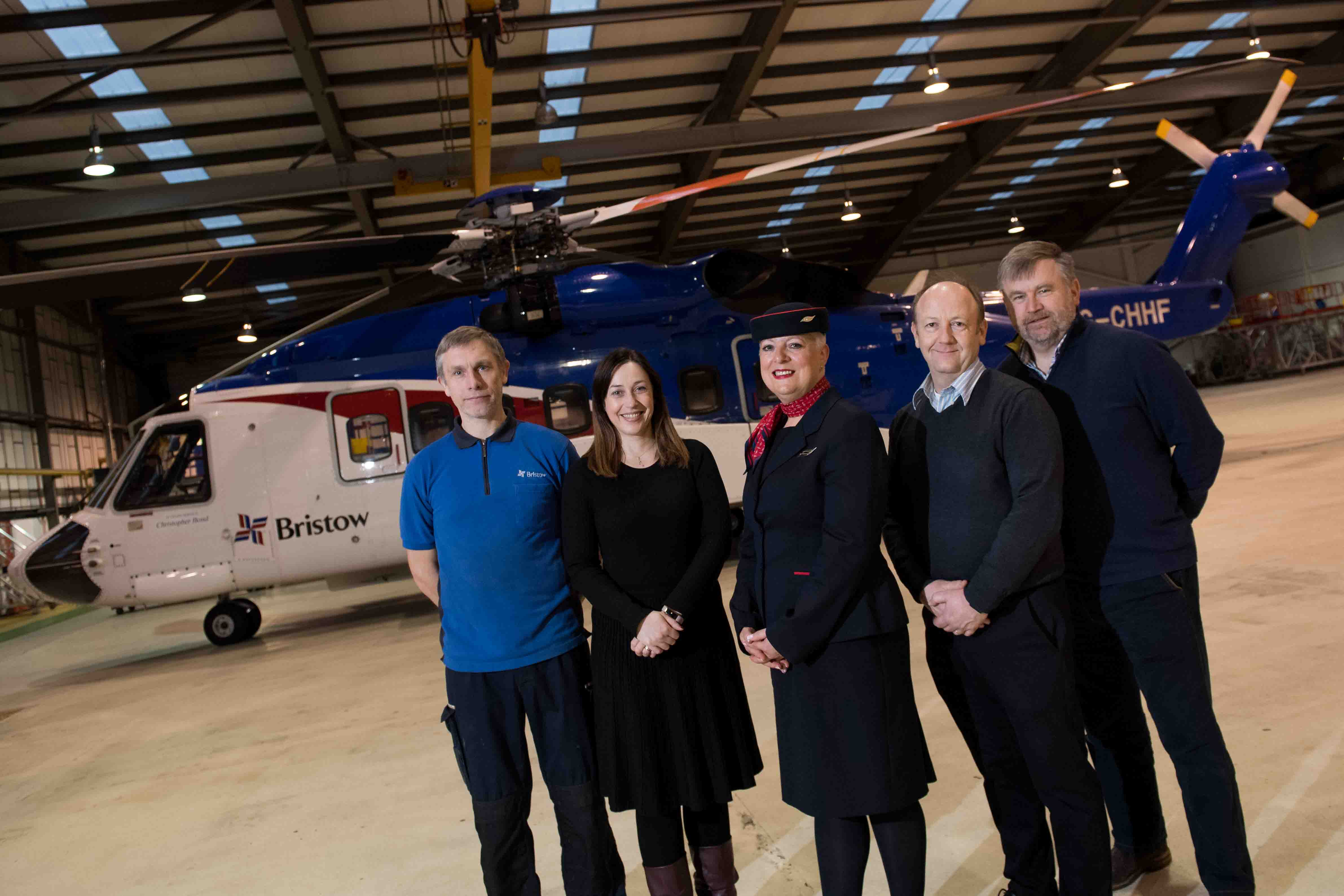 A team of Bristow and Eastern Airways staff are taking part in the Social Bite Sleep in the Park fundraiser. Pictured from left is FItter, Blair Carmie, Business Readiness, IT Manager at Bristow Helicopters Ltd, Julie Carnie, Cabin Crew, Denise Gardiner, Head of Flight Operations, Tim Glasspool and Director of UK Search and Rescue, Russ Torbet.