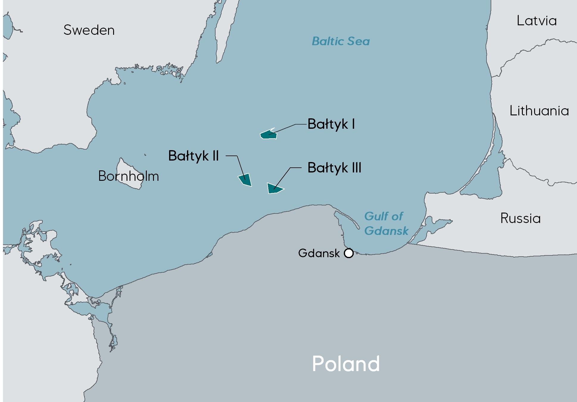 Equinor Polish wind project map.
