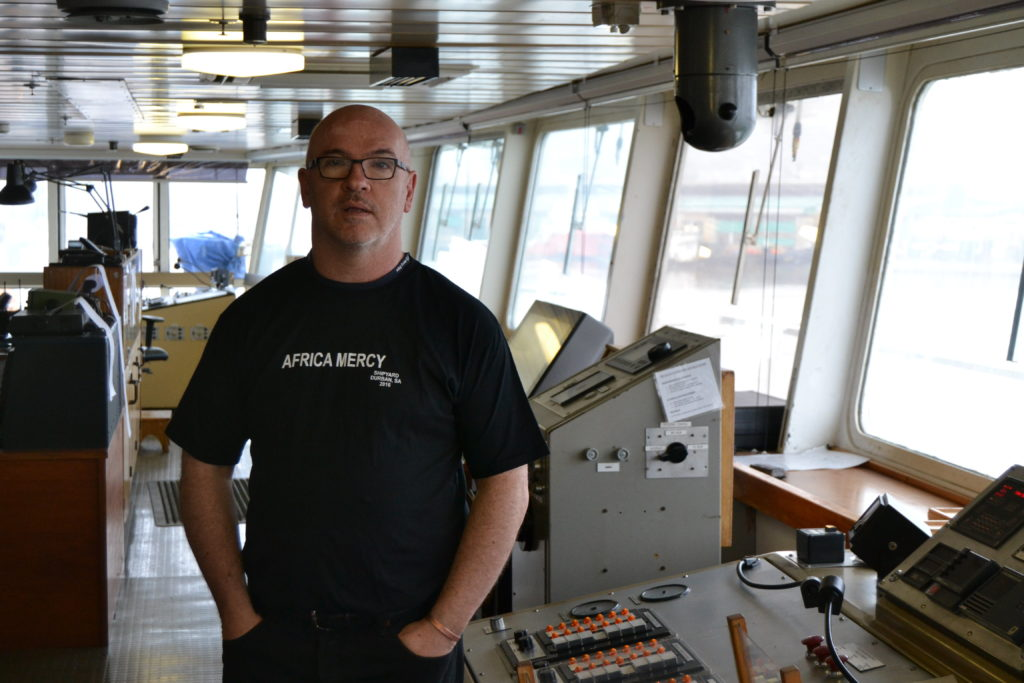 Matthew Heyman, Tymor Marine's Business Development Manager, onboard the Africa Mercy.