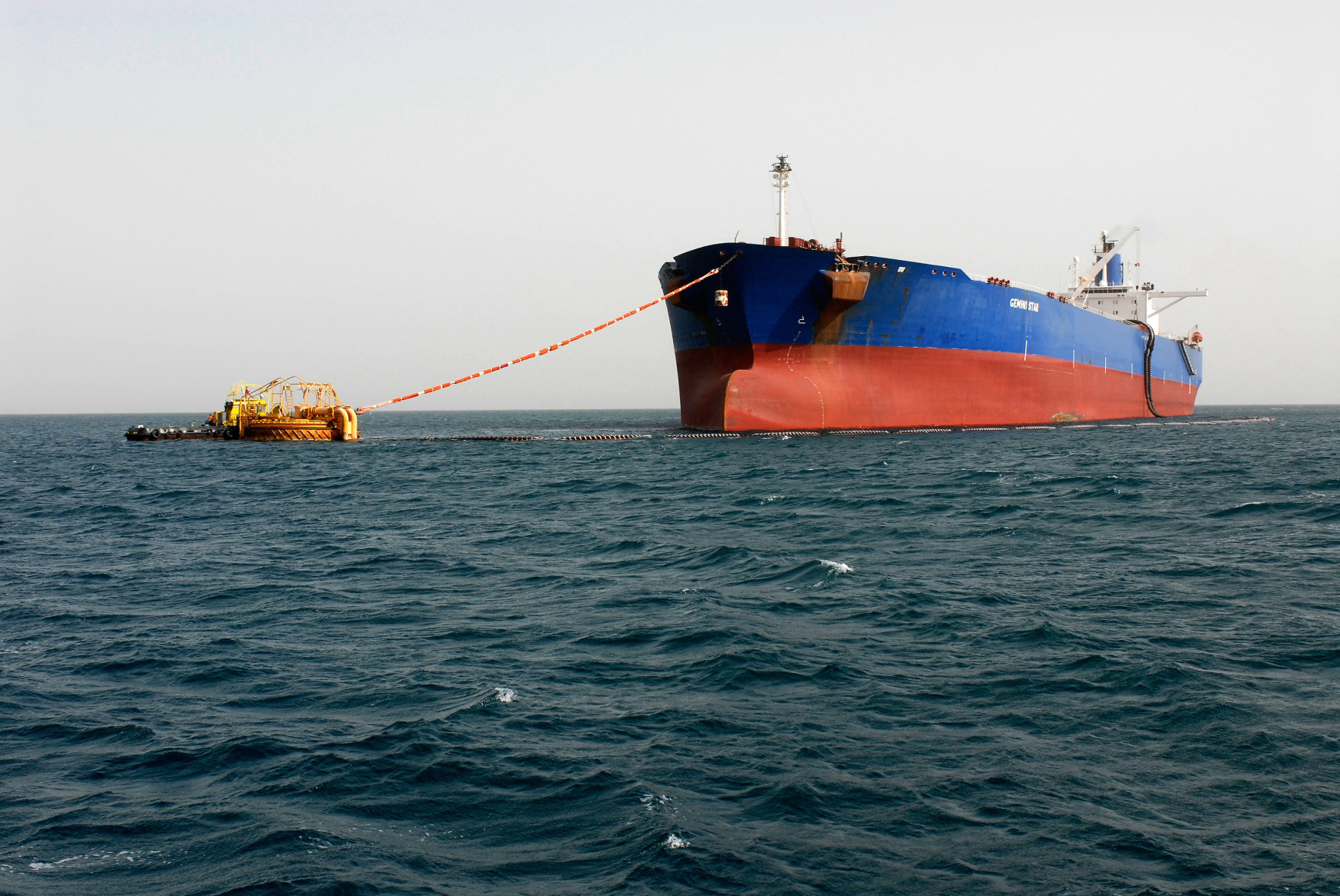 The Gemini Star oil tanker, owned by Vela International Marine, a subsidiary of Saudi Aramco, offloads into a single buoy mooring at the start of the Sumed pipeline in the Gulf of Suez, near the port of Ain Sukhna, Egypt. Photographer: Dana Smillie/Bloomberg