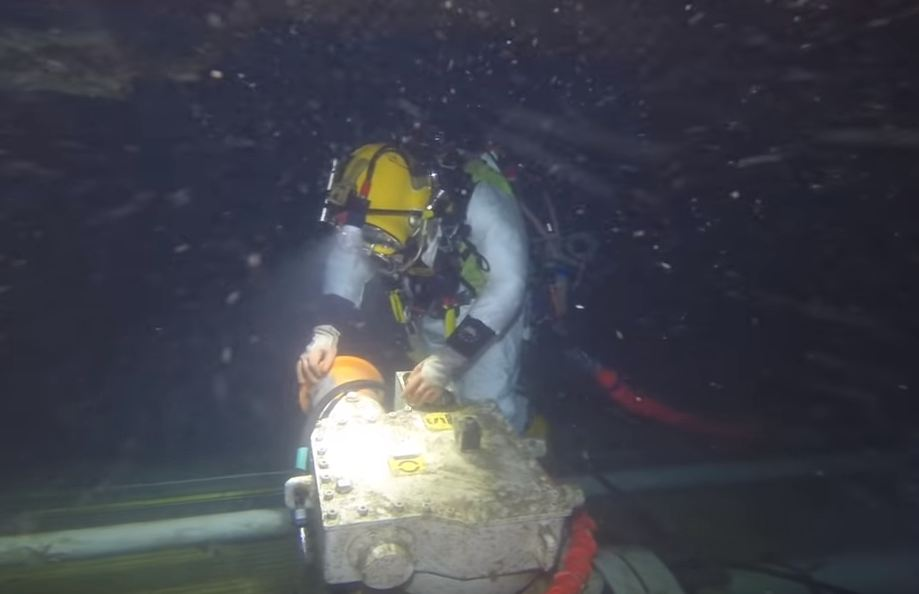 The video was posted to youtube, showing a team of divers carrying out tasks on subsea infrastructure