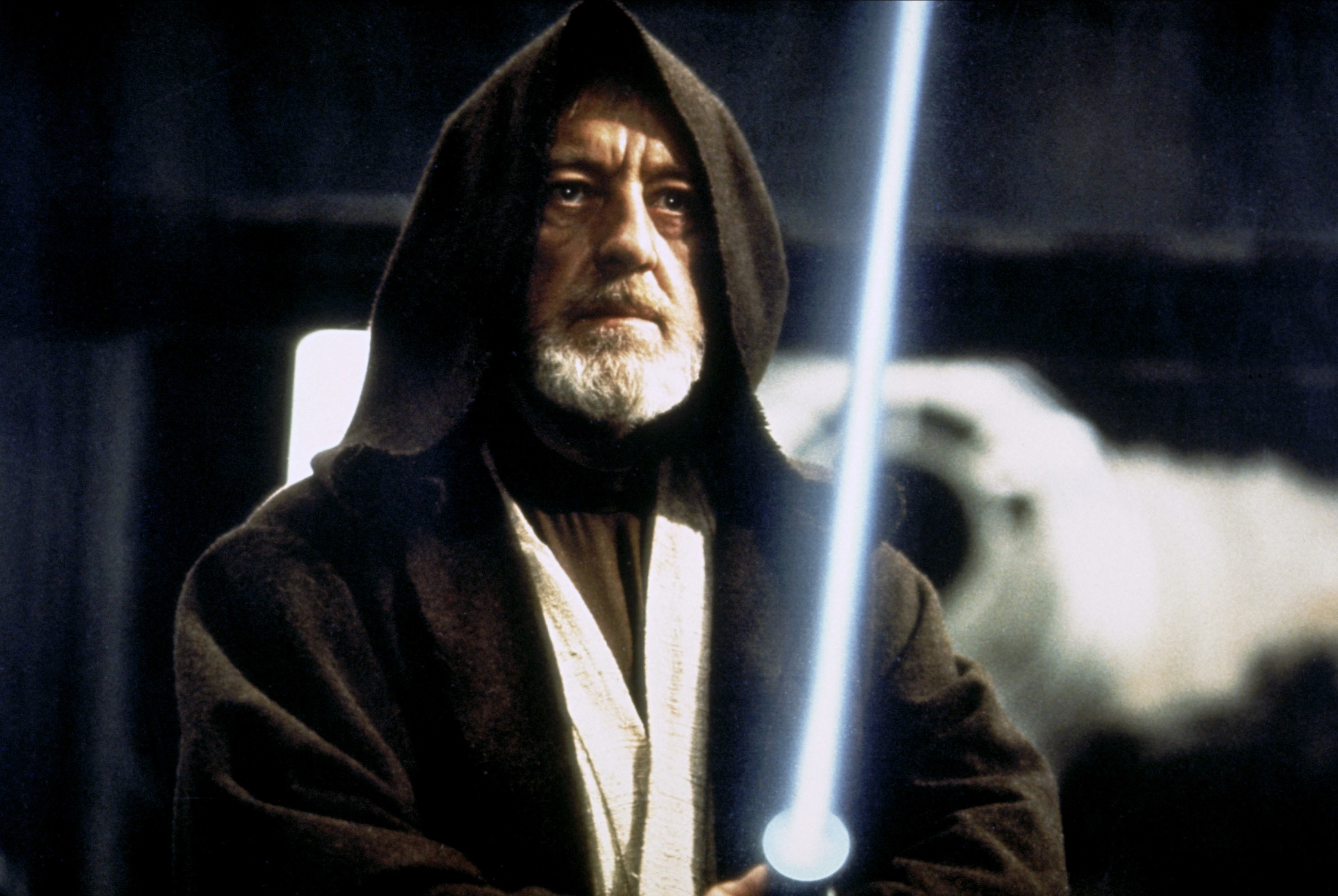 Alec Guinness: Ben Obi-Wan Kenobi  Film 'STAR WARS; STAR WARS: EPISODE IV - A NEW HOPE' (1977)  Directed By GEORGE LUCAS  25 May 1977  AFB6468  Allstar/LUCASFILM
