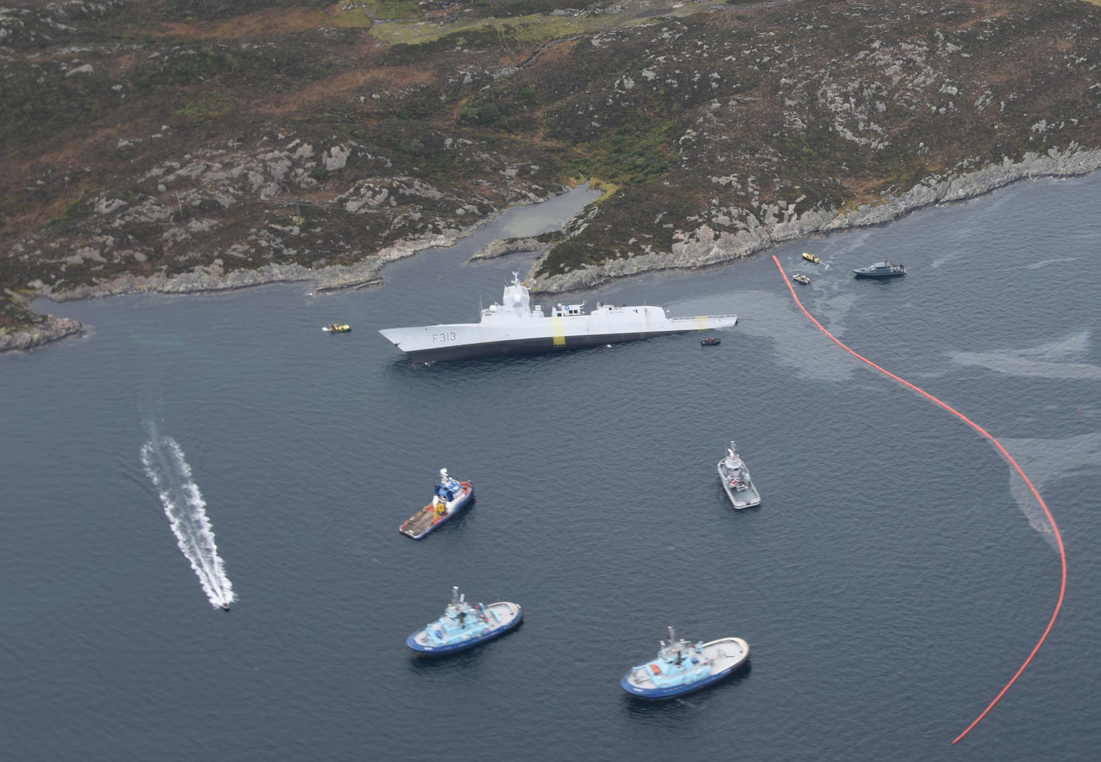 The Helge Ingstad sank after its collision in November with the Sola TS tanker. Pic: Norwegian Coastal Administration