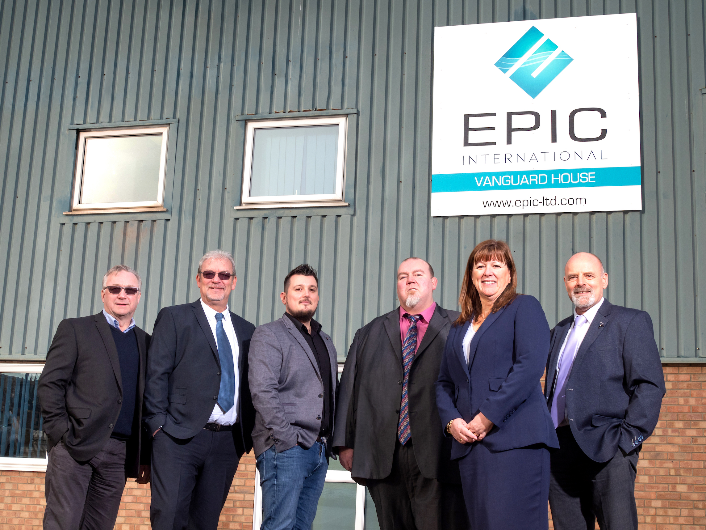 Epic International's new management team with the refreshed company branding. From left to right: Adrian Hak, general manager, Mick Miller, operations manager, Dane Rowan, Ian Littlewood, business development manager, Kim Rowan, managing director, and Paul Martins, finance and commercial director.