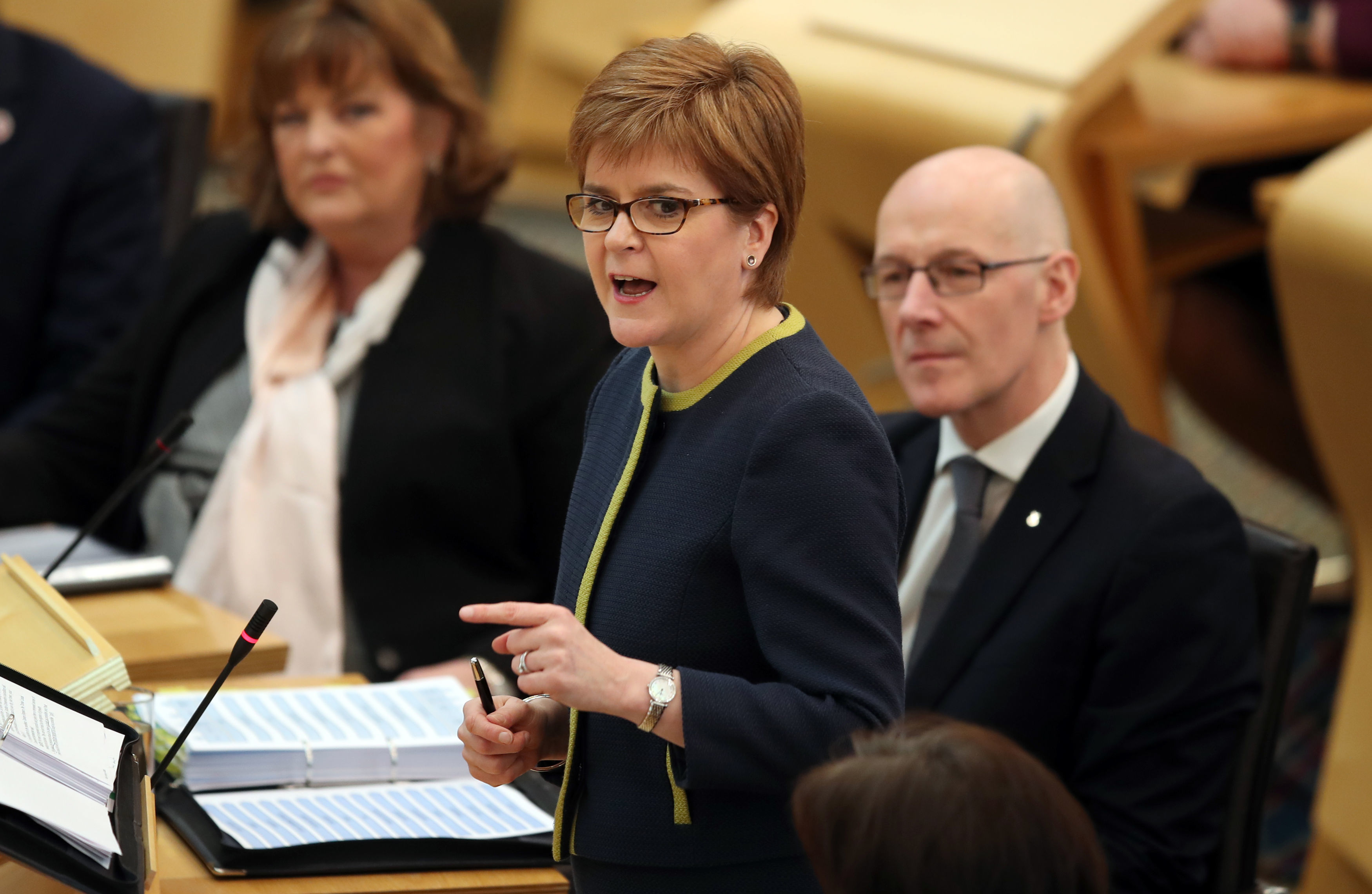First Minister Nicola Sturgeon during First Minister's Questions. Photo credit should read: Jane Barlow/PA Wire