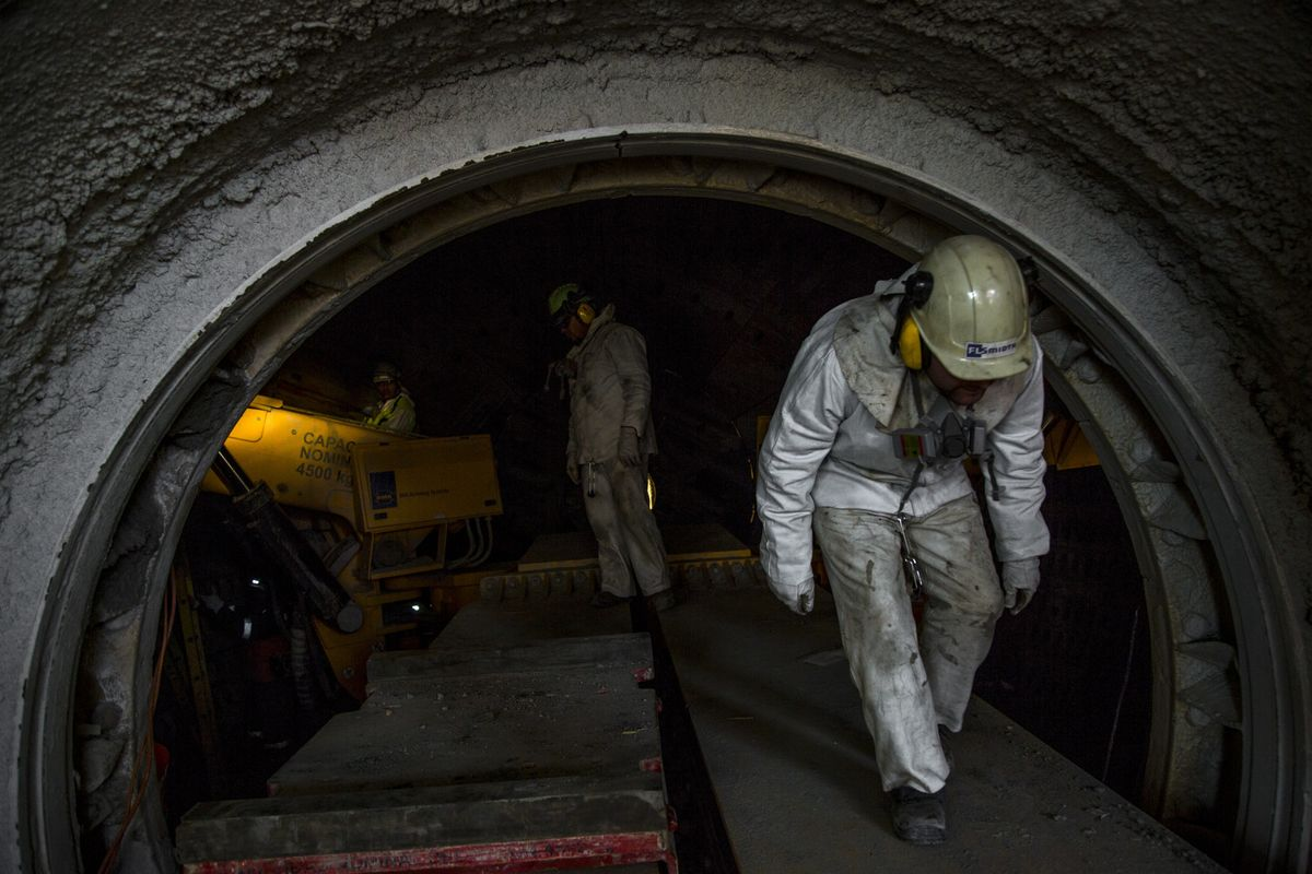 Workers perform a maintenance check inside the Codelco Ministro Hales mine complex near Calama, Chile, on Thursday, Aug. 2, 2018. Protests at the Chuquicamata copper mine in late July were the first labor disruptions in Chile this year, and happened amid calls for a strike from the union at the world's largest mine, BHP Billiton Ltd.'s Escondida. Photographer: Cristobal Olivares/Bloomberg
