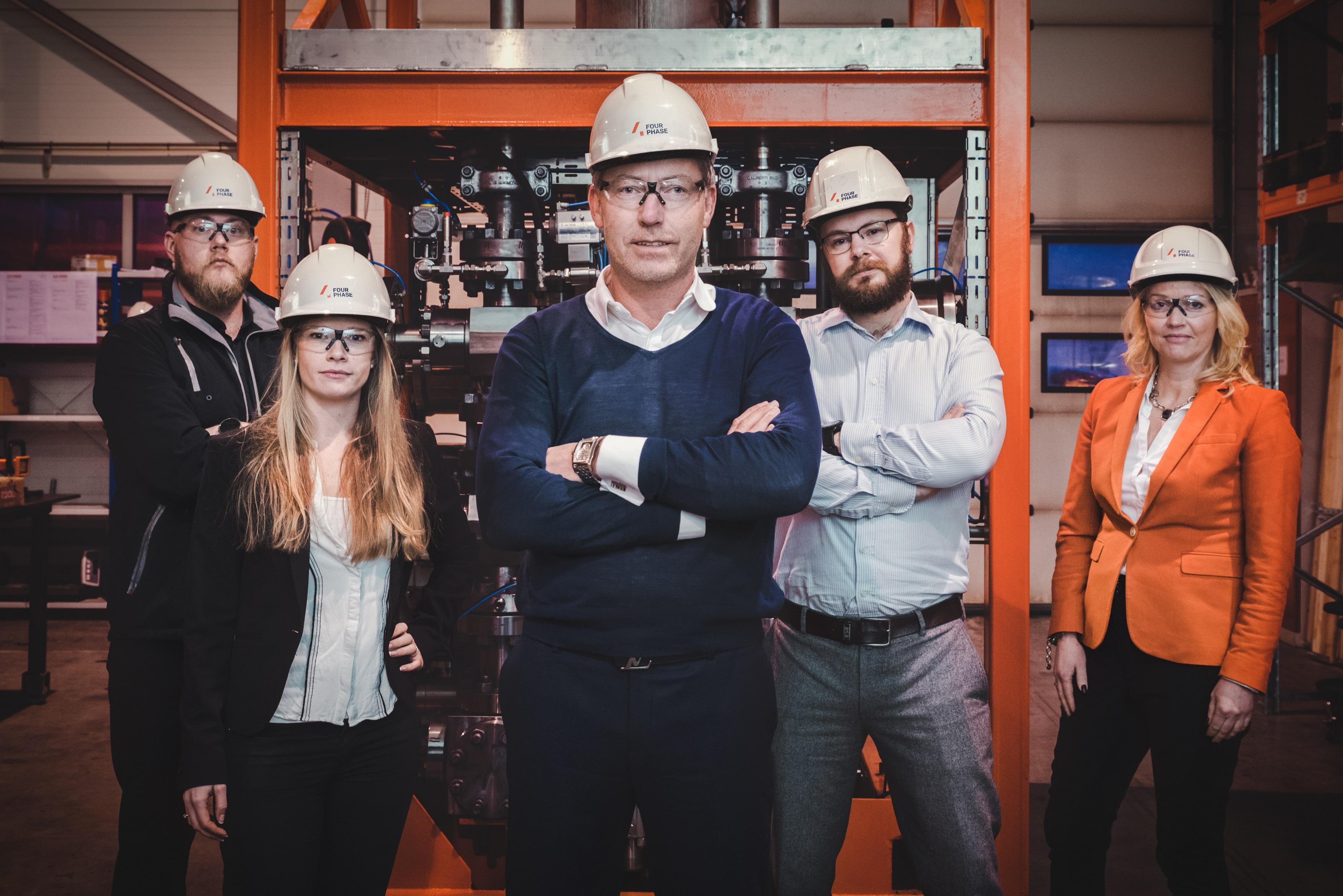 L to R Jørgen Bruntveit (VP Operations), Marianne Mikalsen (Operations Manager), Torstein Nedreaas (Equipment and Procurement Manager), Anne Lene Langeland (HSE&Q Manager) and Øyvind Heradstveit (CEO).