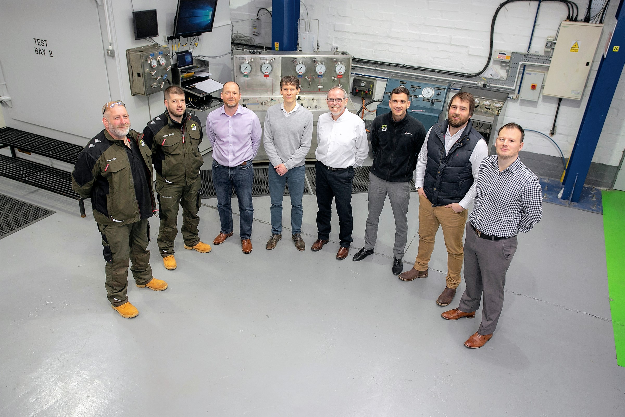 Interventek's team of new staff pictured with directors John Sangster and Gavin Cowie. L-R: Will Evans, workshop manager; Stephen Christie, workshop technician; John Sangster, technical director; Chris Mutch, project engineer; Gavin Cowie, managing director; Euan Mitchell, design engineer; Fraser Gray, design engineer; Steven Burnett, design engineer.