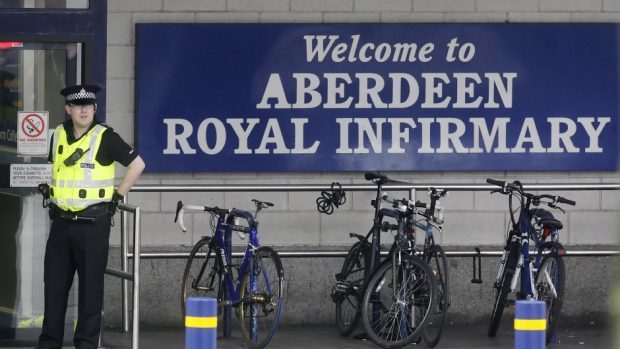 The worker has been taken to Aberdeen Royal Infirmary