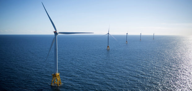 The GE-Alstom Block Island Wind Farm stands in the water off Block Island, Rhode Island, U.S., on Wednesday, Sept, 14, 2016. The installation of five 6-megawatt offshore-wind turbines at the Block Island project gives turbine supplier GE-Alstom first-mover advantage in the U.S. over its rivals Siemens and MHI-Vestas. Photographer: Eric Thayer/Bloomberg