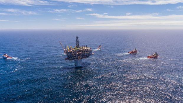 Exxon's Hebron platform offshore Canada in the North Atlantic