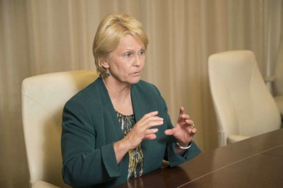 Occidental Petroleum CEO Vicki Hollub talks about the growth of the company on Monday since the most recent oil bust. In 2016 Hollub became the first woman leading a major American oil company. Photo: Marie D. De Jesus, Houston Chronicle