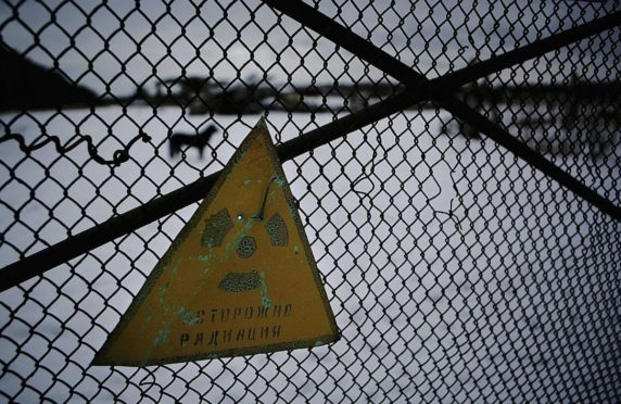 A warning sign outside the exclusion zone in Chernobyl