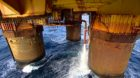 Environmental concerns have centred around 64 oil storage cells within the legs of the Brent Bravo, Charlie and Delta.