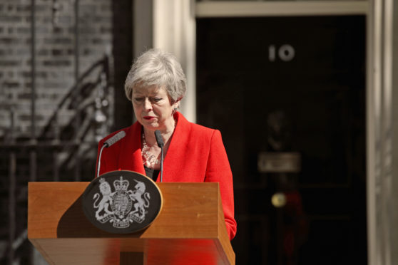 Prime Minister Theresa May makes a statement outside at 10 Downing Street in London, where she announced she is standing down as Tory party leader on Friday June 7. PRESS ASSOCIATION Photo. Picture date: Friday May 24, 2019. See PA story POLITICS Brexit. Photo credit should read: Yui Mok/PA Wire