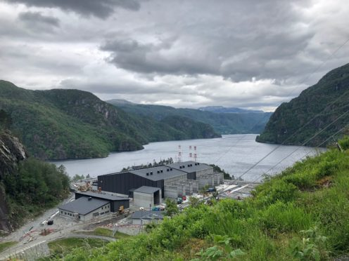 "A converter power station is being built to help transmit electricity from Norway's hydropower to the British grid, as water flowing from mountains to fjords in Norway will soon be helping power British homes, as the world's longest ""interconnector"" hooks up the two countries' grids. PRESS ASSOCIATION Photo. Picture date: Friday June 21, 2019."