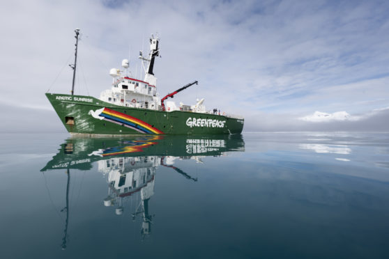 Greenpeace ship the Arctic Sunrise at  Livingston Island, Antarctica. Greenpeace is conducting submarine-based scientific research to strengthen the proposal to create the largest protected area on the planet, an Antarctic Ocean Sanctuary.