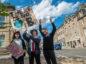 Bria Alexandra, 12, Martha Allsop, 13, Hannah Weir,12, protesting outside Moray Council