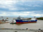 "A ship got stuck in the new Harbour at Nigg Bay.  Sent in by From: Richard Sutherland  rfsutherland@aol.com  7715679491   ""New harbour at Bay of Nigg. The reason the ship berthed for so long was it had hit the bottom"""