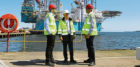 Luiz Rozo, Callum Falconer, chief executive of Dundeecom, and Ricardo Luca on a tour of Dundee Port.
