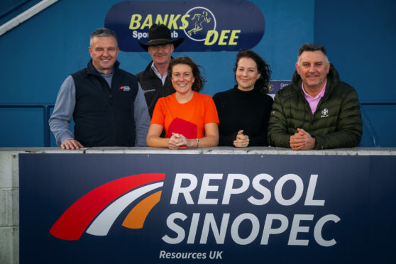 Bill Dunnett, CEO Repsol Sinopec;  Jock Hutchison, Horseback UK;  Paula Cormack, Maggie's;  Lesley Fletcher, The Forget-Me-Not Club; and Aberdeen's 'Gothenburg Great' John Hewitt.