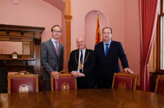 Romain Chambault, Lord Provost Barney Crockett and Brett Jackson