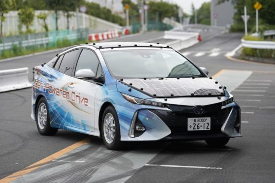 A Toyota Prius equipped with a solar charging system. Photographer: Toru Hanai/Bloomberg