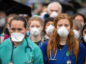 Doctors gather to protest in support of Extinction Rebellion (XR) at Jubilee Gardens, London, to highlight deaths caused by air pollution.  Dominic Lipinski/PA Wire
