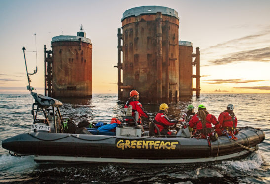 Greenpeace protests at the Brent field last month. Pic: Greenpeace