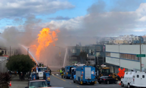 San Francisco terminal explosion: fuel burns as residents take shelter