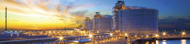 Sempra LNG tanks at sunset