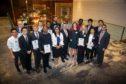 Kenny McAllister, chairman of SPE Aberdeen, centre, with the 2019 student bursary award winners