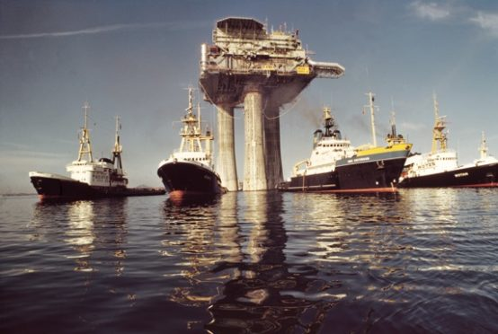 The Beryl A platform arrives in the UK sector of the North Sea