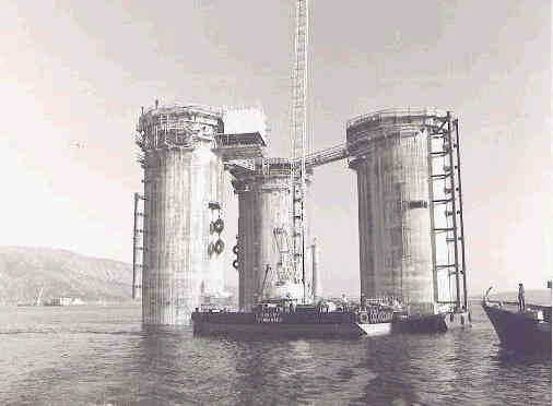The Brent Delta being installed in 1976.